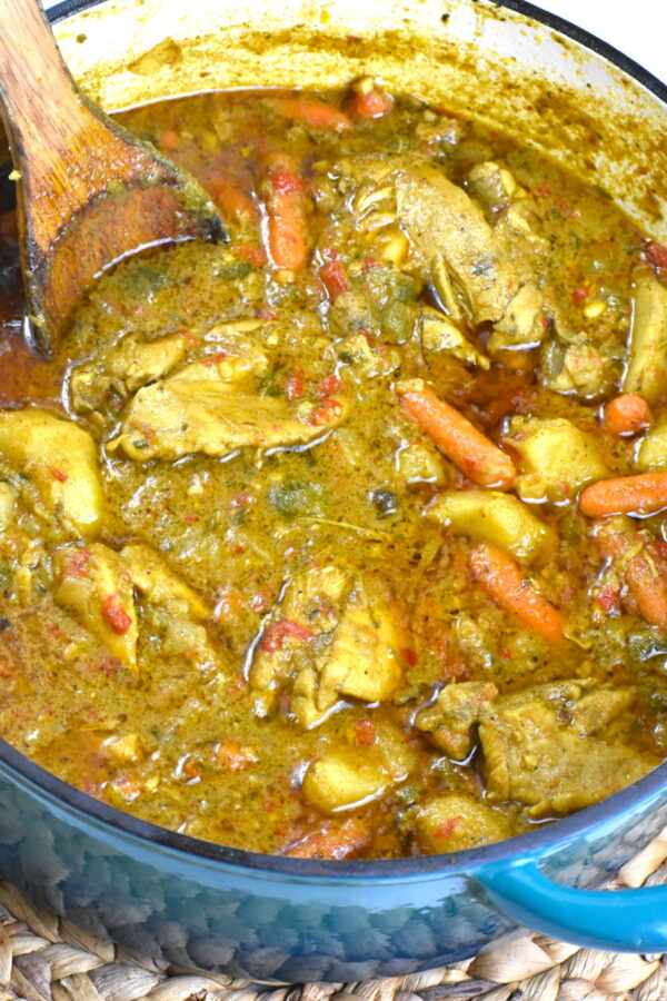The coconut milk version of Jamaican curry chicken.