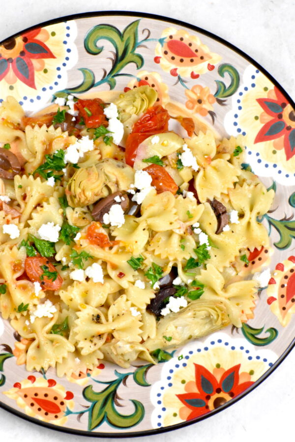 A serving of Mediterranean pasta on the Gypsy Plate.