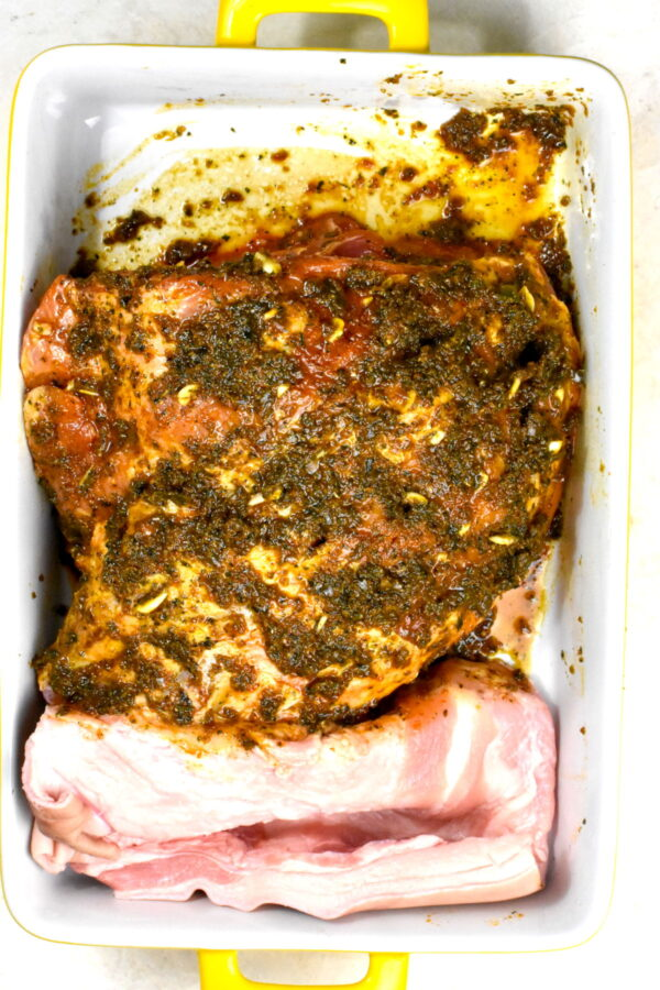 Marinade applied to the pork.