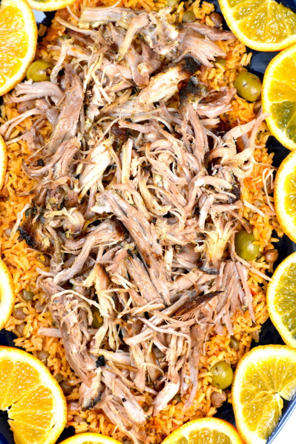 Another shot of the shredded pernil and rice.