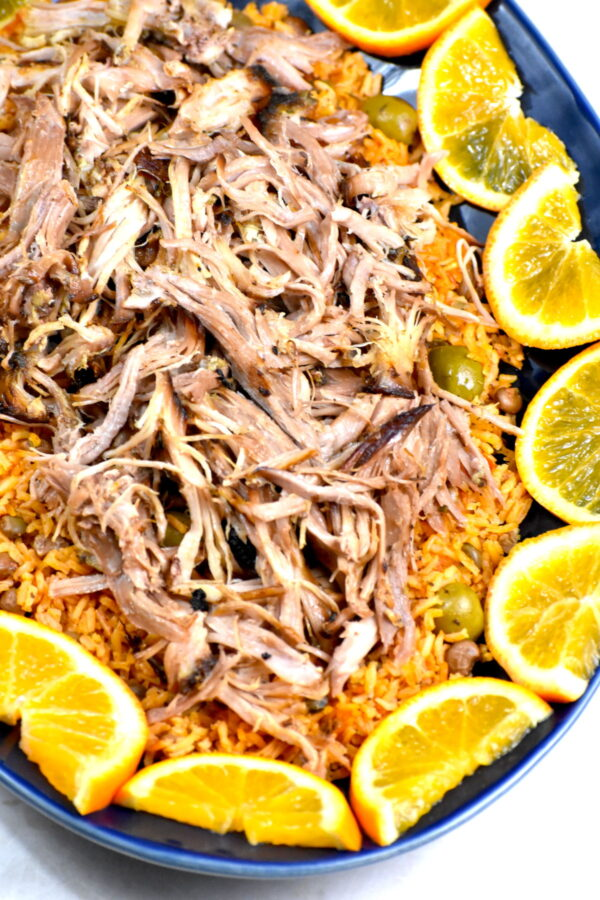 The platter of pernil and rice.