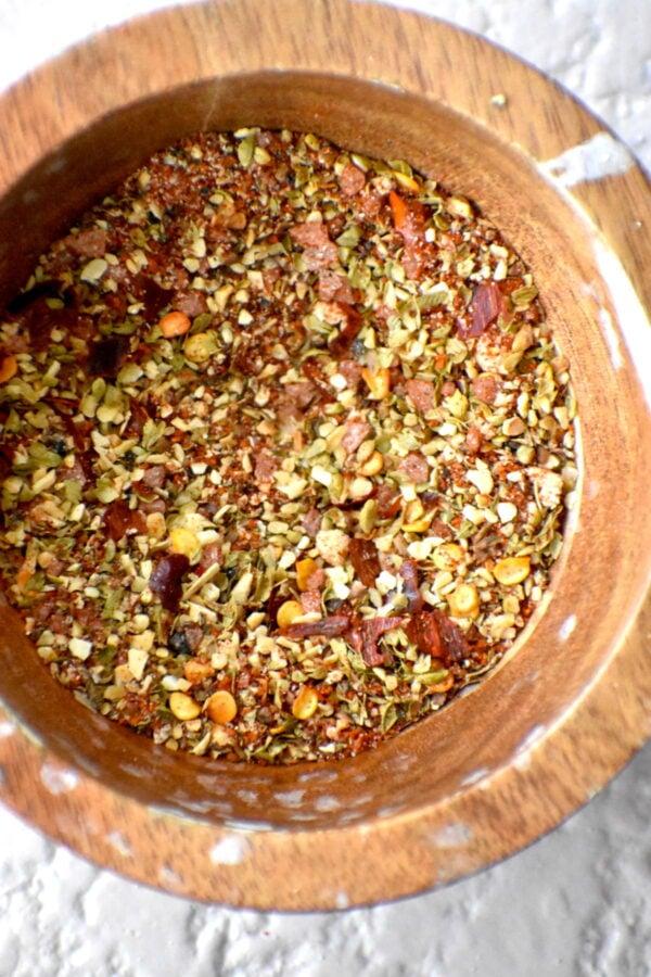 Seasonings in a wooden bowl.