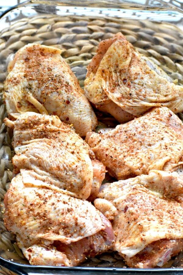 Seasoned chicken thighs.