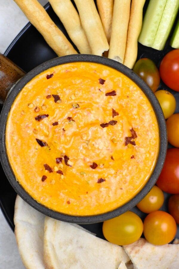 A bowlful of Tyrokafteri, or spicy Greek feta dip.