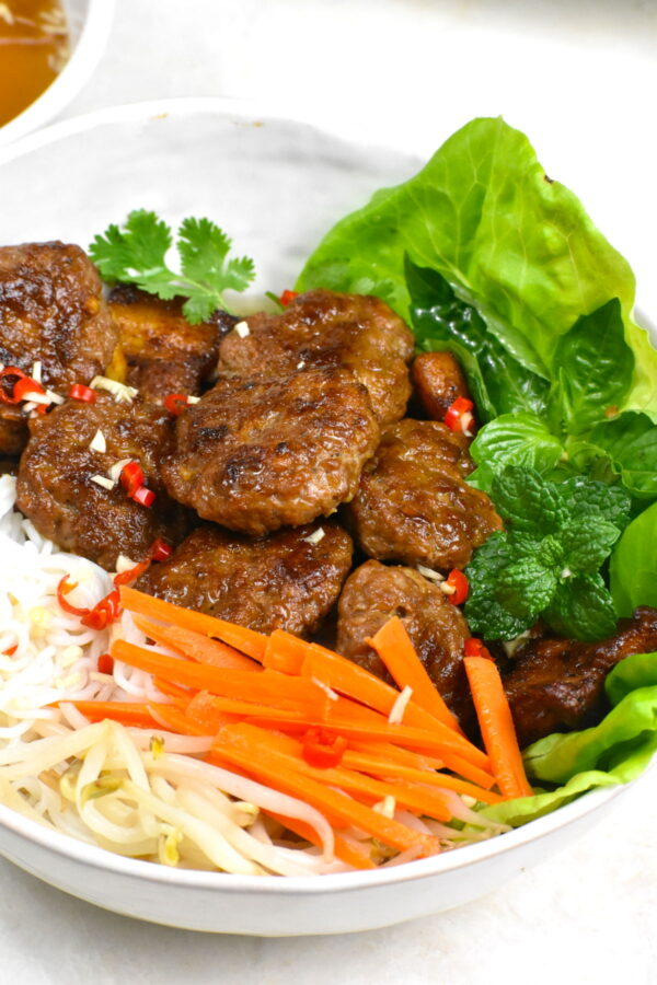 Side view of the bowl of bun cha.