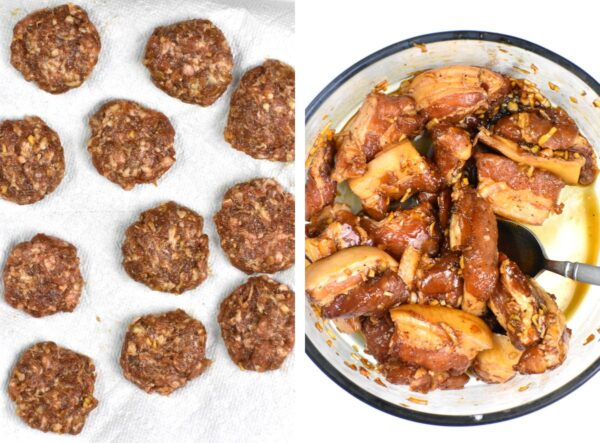 Collage of two photos: one of the raw meatballs and one of the marinating pork belly.