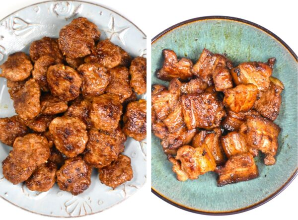 Collage of two images: one of the cooked meatballs one of the cooked pork belly.