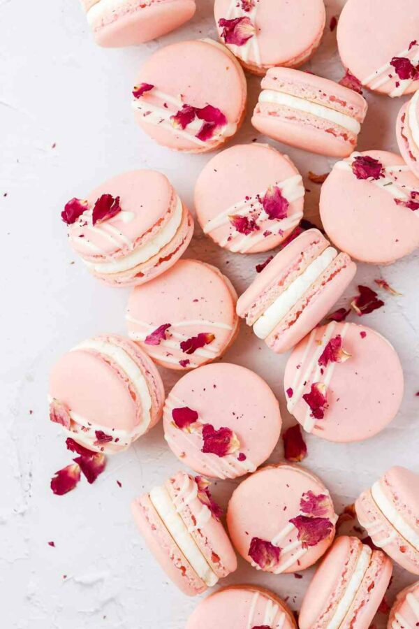 The 25 BEST Macaron Recipes - white chocolate rose.